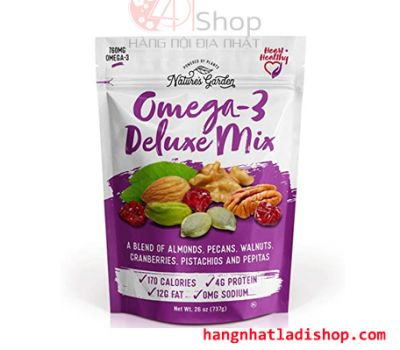 Hạt sấy khô tổng hợp Natures Garden Omega 3 Deluxe Mix 737g.